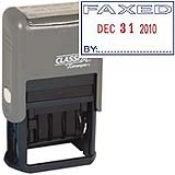 "40320<br>Plastic Self-Inking<br>Message Date Stamp<br>""FAXED"""