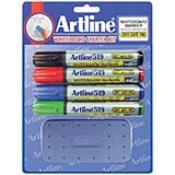 47422 - Dry Safe 2.-5.mm Chisel 4pk Whiteboard Markers with Eraser EK-519 (Assorted)